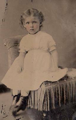Great 6th plate tintype pretty young girl sitting
