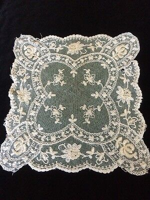 Antique Net Tambour Lace Doily Salvage Or Fabric For Vintage Dolls