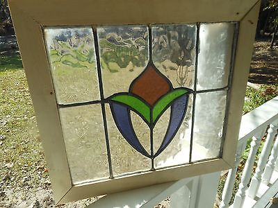 MA8-270 Lovely Older Leaded Stain Glass Window From England Reframed