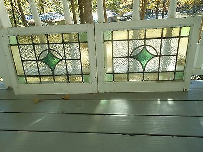 JA48 Older Pretty Multi-Color English Leaded Stain Glass Window 2 Available