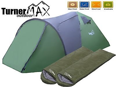 TurnerMAX Outdoor 4 Person Camping Hiking Fishing Tent with 2 Sleeping Bags