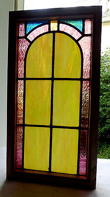 Antique Vtg Church Stained Glass Window Architectural Salvage Arch E31