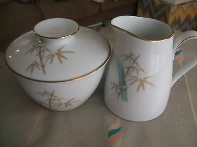NORITAKE Vintage Sugar Bowl and Creamer Set Bamboo Pattern