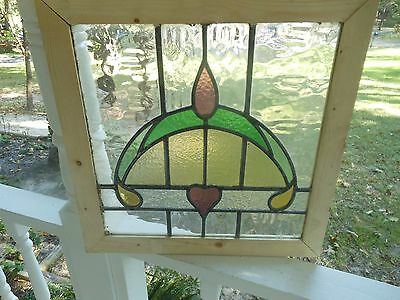MA8-271 Lovely Older Leaded Stained Glass Window From England Reframed