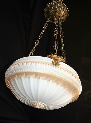 VTG DECO ERA VICTORIAN 3 CHAINS CHANDELIER FIXTURE ORNATE GLASS SHADE 1930's