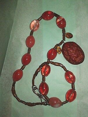 Antique Necklace carved amulet red jade glass beads Sacred Spiritual Protection