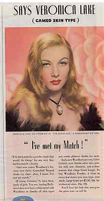 Veronica Lake Magazine Ad (1942) for Woodbury Powder—EXCELLENT