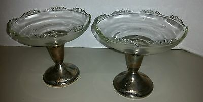 Vintage Weighted Sterling Silver and Glass Compote Pedestal Candy Dishes