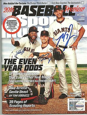 Buster Posey / Bumgarner / Cueto Ip Auto Signed 3/28/2016 Sports Illustrated