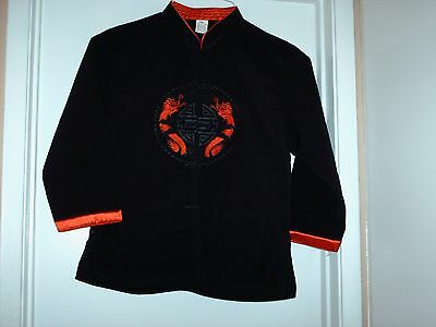 NEW Boys Chinese Asian Mandarin Black Silk Jacket - Size 12