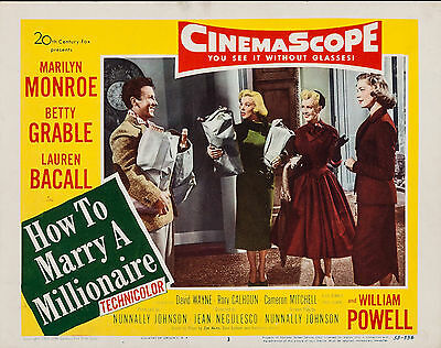 How to Marry a Millionaire 11X14 Lobby Card LC Marilyn Monroe Lauren Bacall