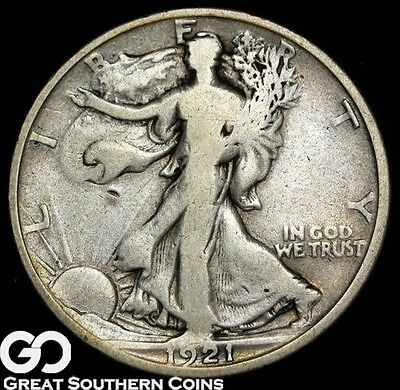 1921-D Walking Liberty Half Dollar, Scarce Key Date Denver Issue, ** Free S/H!