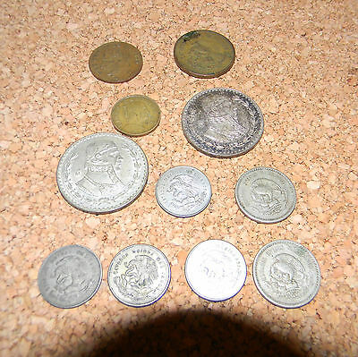 Lot of 11 Old Mexican Coins dated 1946 thru 1955