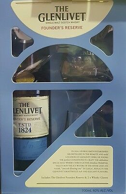 GLENLIVET FOUNDERS RESERVE Scotch whisky 700 ml gift pack with 2 x glasses