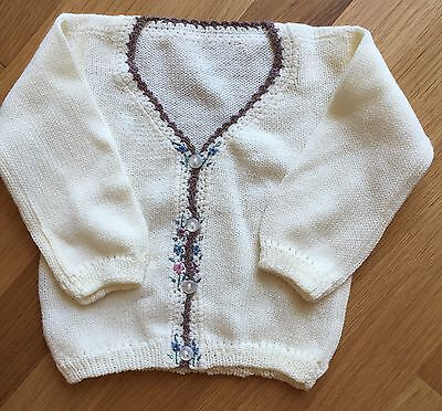 Vintage Floral Baby Cardigan Size 6-12 Months Acrylic Off-White