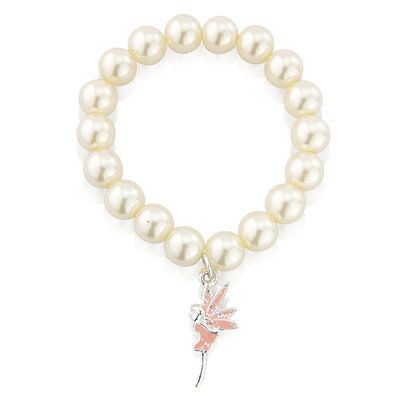 Children's pearl bracelet with pink glittery fairy pendant- necklace available