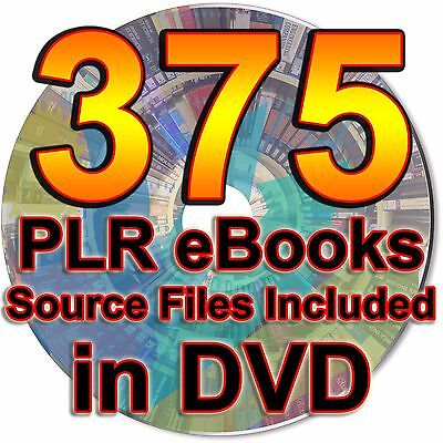 375 PLR MRR White Private Label eBooks Articles Resell Rights Editable Files DVD