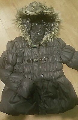 Girls Next coat puffa size 7-8 years grey fur leather quilted