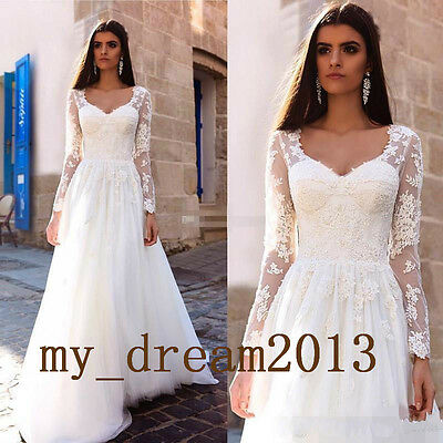 Lace/Tulle Long Sleeves Wedding Dress Bridal Gown Formal Prom Ball Deb Custom