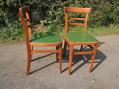 pair wooden kitchen  chairs , tatty plastic covered seats