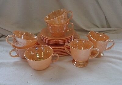 STUNNING Rare VINTAGE 1950s FIRE KING OVEN WARE U.S.A TEA SET Cups Saucers