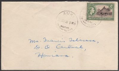 British Solomon Islands 92 on 1958 cover Auki to Honiara