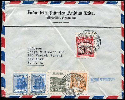 Colombia 1948 Airmail Cover, Medellin to New York