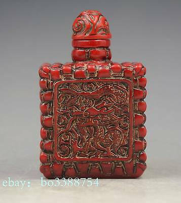 China sculpture imitation red coral resin square dragon snuff bottles