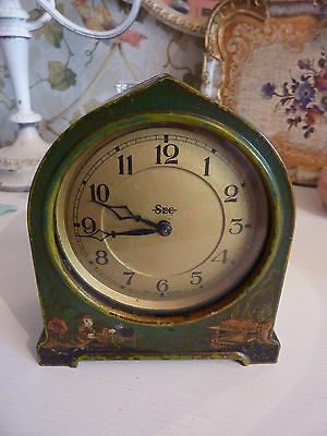 Vintage SEC Mantle clock Chinese design , green painted metal 1930/40s RARE FIND