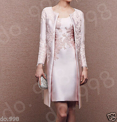 Pink Lace Mother Of The Bride Dresses Formal Outfit Coat With Long Jacket