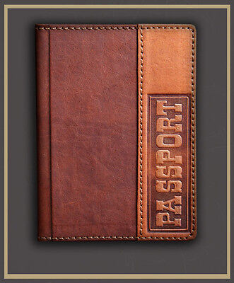 HANDMADE Genuine LEATHER PASSPORT COVER holder case BROWN decorate engraving 13