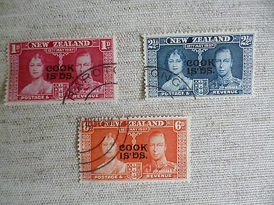 Cook Islands. Full Set Of 1937 Coronation Used Stamps As Shown In Photographs