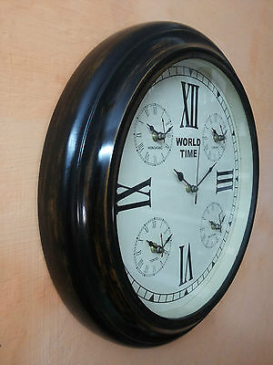 Antique Wooden Wall Clock World Time 16 Inches 5 World Time