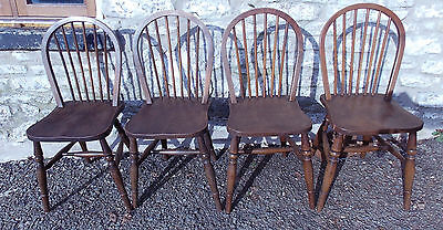 Set of 4 antique vintage elm seat hoop stick back country CHAIRS kitchen dining