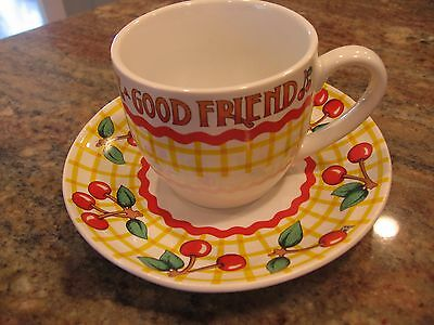 MARY ENGELBREIT me LIFE HAS NO BLESSING FRIEND cherries checks CUP SAUCER 2001