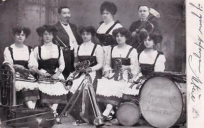 1910 PHOTO postcard - MUSICIANS - Postmarked AACHEN, Germany