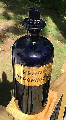 AWESOME COBALT BLUE APOTHECARY FERRI PYROPHOSP LABEL UNDER GLASS & Paper Label