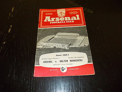 Arsenal v Bolton Wanderers 9th Sept 1958  Football League Div 1