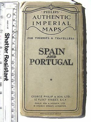 Old map of Spain and Portugal - Philips c1929
