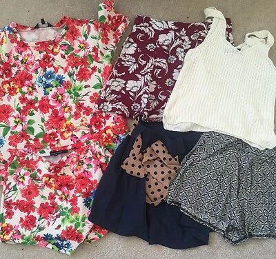 Womens size 8 clothing bundle shorts and tops New Look,Miss Selfride, Primark