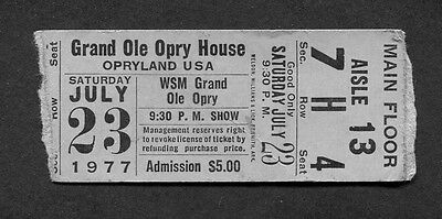 1977 Grand Ole Opry Concert Ticket Stub Opryland USA Nashville TN