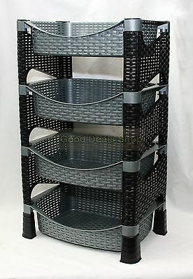 Stylish Galaxy HQ 4 Tier Plastic Fruit Vegetable Kitchen Storage Rack Trolley GS