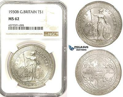 ZM336, Great Britain, Trade Dollar 1930-B, Bombay, Silver, NGC MS62