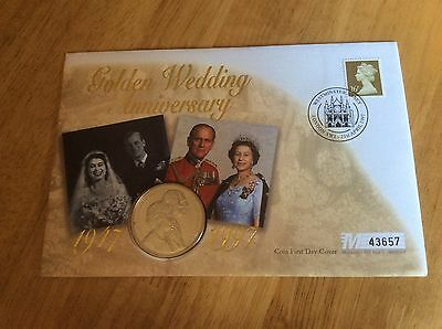 1997 FIRST DAY COVER £5 COIN THE QUEENS GOLDEN WEDDING royal mint
