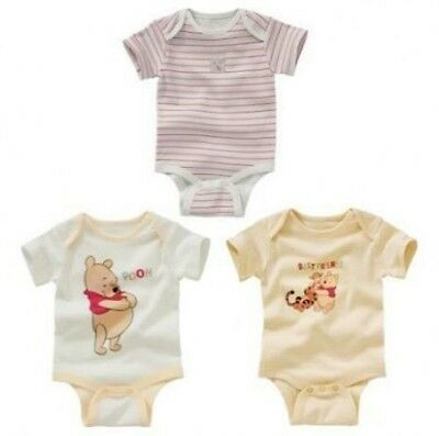 DISNEY WINNIE THE POOH 3 PACK BABY VESTS / BODYSUITS from 3 to 18 mths
