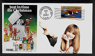 1980 Zippo Lighter & Pin Up Girl Featured on Xmas Collector's Envelope *X283
