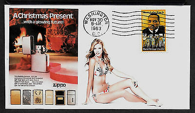 1983 Zippo Lighter & Pin Up Girl Featured on Xmas Collector's Envelope *X288