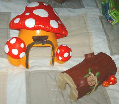 Resin Hamster Mushroom and Log Keep For Your Hammy to Explore, VGC Bright Clean,