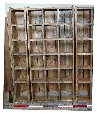 Pigeon holes x3 (1 col + 3 col + 1 cols)  industrial rustic solid wood gplanera