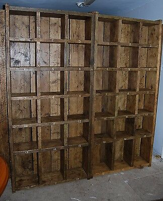 Pigeon holes PAIR industrial rustic bookcase reclaimed salvaged wood gplanera